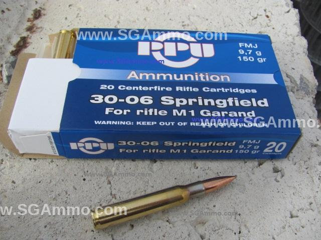 200 Round Case - 30-06 Springfield 150 Grain FMJ Ammo Optimized for M1 Garand Rifle by Prvi Partizan - PP3006G - Blue Box