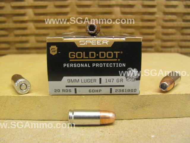 200 Round Case - 9mm Luger 147 Grain GDHP Speer Gold Dot Personal Protection Ammo - 23619GD