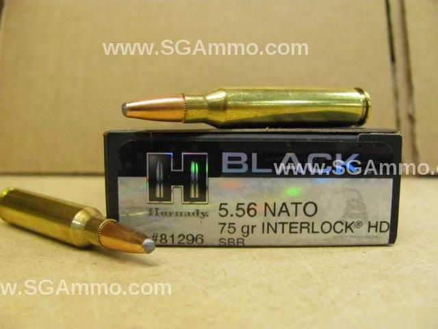 200 Round Case - 5.56 NATO 75 Grain Interlock HD SBR Soft Point Hornady Black Ammo - 81296