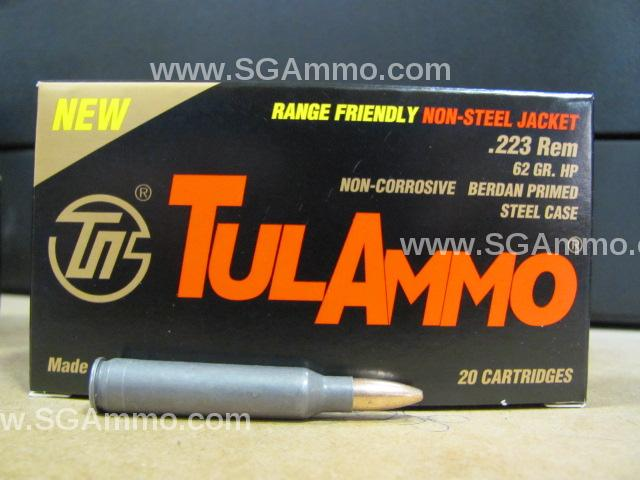 1000 Round Case - 223 Rem 62 Grain Hollow Point TulAmmo Steel Case with Brass Jacket Non-Magnetic Bullet - TA223624