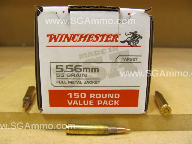 150 Round Box - 5.56mm 55 Grain FMJ Ammo Loose Pack Made by Lake City for Winchester - USA556L1