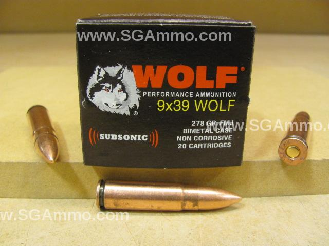 200 Round Lot - 9x39 Wolf Subsonic 278 Grain FMJ Bi-metal Case Ammo