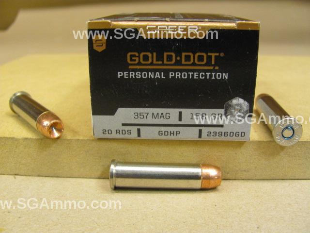 20 Round Box - 357 Magnum 158 Grain Gold Dot Hollow Point GDHP Personal Protection Ammo - 23960GD