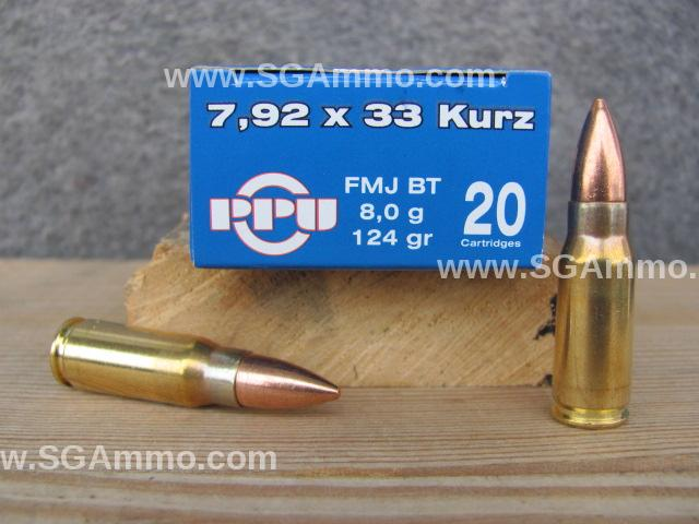 500 Round Case - 7.92x33 Kurz Ammo for Sale - 124 Grain FMJ - Made by Prvi Partizan - PP7K