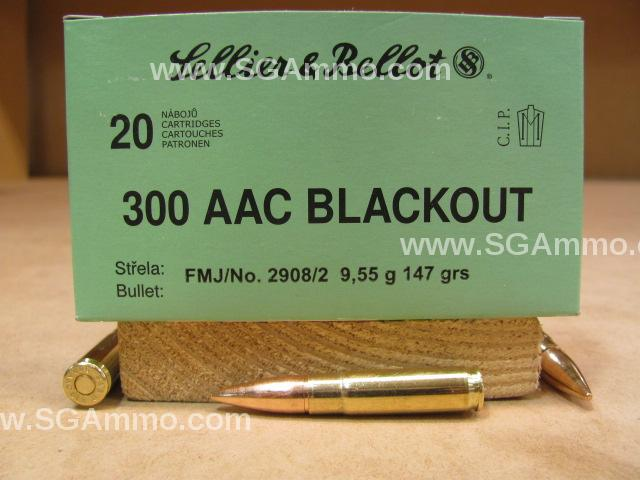 1000 Round Case - 300 AAC Blackout 147 grain FMJ ammo by Sellier Bellot - SB300BLKB