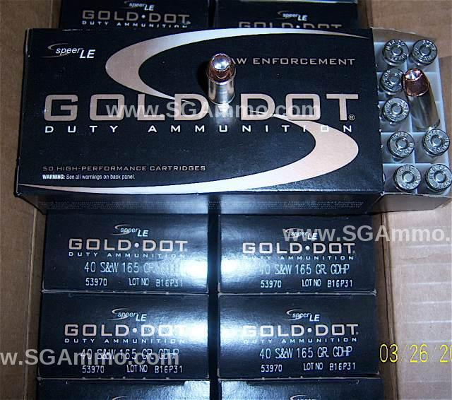 50 Round Box - 40 Cal Speer Gold Dot 165 Grain Hollow Point Ammo - 53970